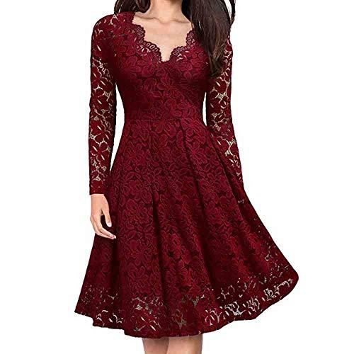 Women Vintage Formal Evening Party Dress Lace V-Neck Floral Off Shoulder Dress Loose Long Sleeve Dress (XL, Wine Red) -