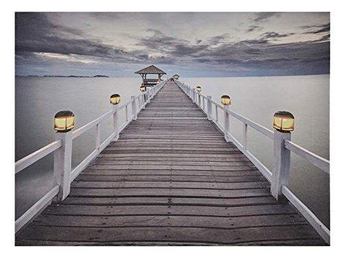 LED Lighted Dock Design Canvas Decor (Wall Boat Art Docks)