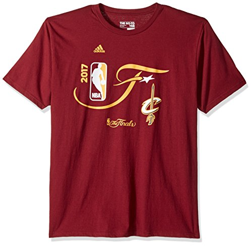 (adidas NBA Cleveland Cavaliers Men's Finals Statement Go to Short Sleeve Tee, Small, Burgundy )