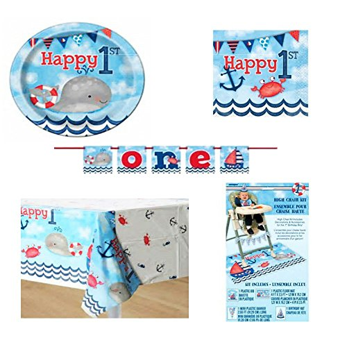 Nautical 1st Birthday Party Supply Bundle for 16: High Chair Decorating Kit, Table Covers, Banner, Plates, and (First Birthday Party Supplies)