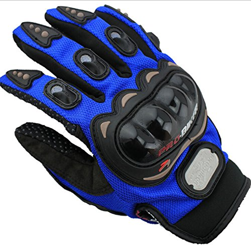 Dealzip Inc Blue Full Finger Gloves Sports Riding Mountain Authentic Bicycle/Motorcycle Motorbike Bike Riding Breathable Protective Gloves(Size:L)