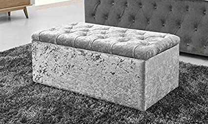 "40/"" Large 4 Diamante Ottoman Crushed Velvet Storage Blanket Toy Box cheapest !"