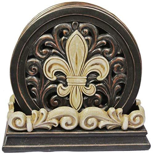 Elegant Carved Fleur De Lis Scrolls Coaster Set