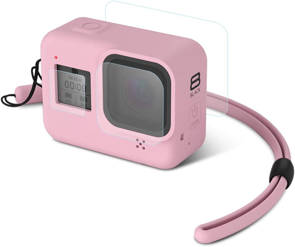 Hsu Silikon Schutzhülle Gehäuse Tasche Und Gehärtetem Glas Displayschutzfolie Für Gopro Hero 8 Action Kamera Rosa Sport Freizeit