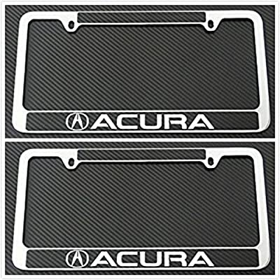 Tuesnut 2X Stainless Steel Black Carbon Fiber Vinyl License Plate Frame Covers Holder Screws Caps Rust Free for Acura: Automotive