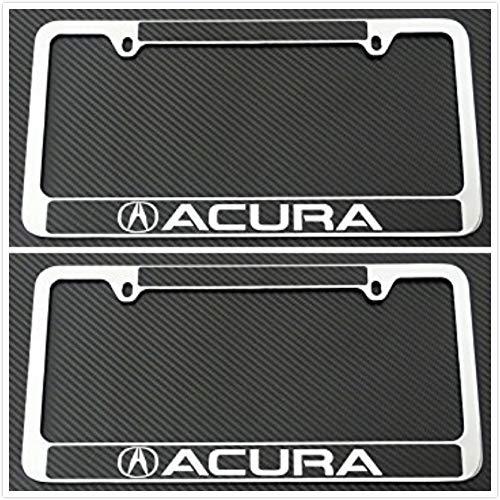 Tuesnut 2X Stainless Steel Black Carbon Fiber Vinyl License Plate Frame Covers Holder Screws Caps Rust Free for Acura