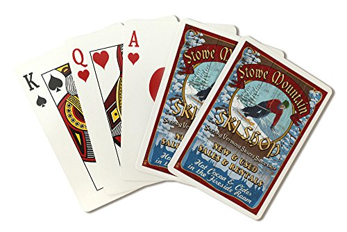 - Stowe Mountain, Vermont - Ski Shop Vintage Sign (Playing Card Deck - 52 Card Poker Size with Jokers)