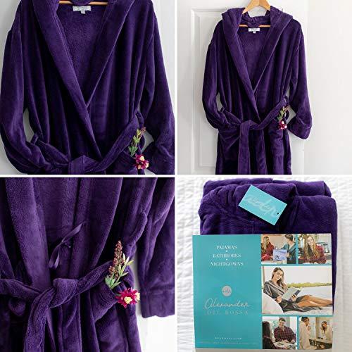 Alexander Del Rossa Women's Plush Fleece Robe with Hood, Warm Solid Bathrobe