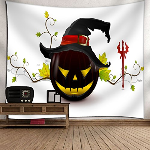 Get Orange Scary Halloween hat Pumpkin Enchanted Forest Mystic Party Art Wall Hanging for Bedroom Living Room Dorm Tapestry 60X51Inch