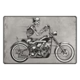 INGBAGS Super Soft Modern Skull Motorcycle Area Rugs Living Room Carpet Bedroom Rug for Children Play Solid Home Decorator Floor Rug and Carpets 60 x 39 Inch
