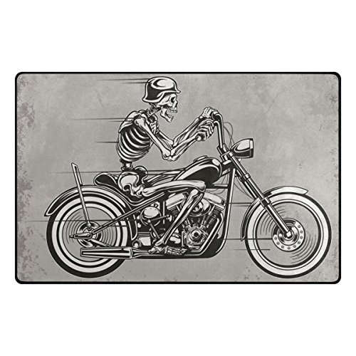 INGBAGS Super Soft Modern Skull Motorcycle Area Rugs Living Room Carpet Bedroom Rug for Children Play Solid Home Decorator Floor Rug and Carpets 31 x 20 Inch