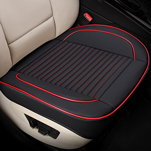 U&M Car Interior Seat Cover, Edge Wrapping Front Seat Cushion Protection Pad Carbonized Leather Ventilated Breathable Comfortable, Anti-Skid Four Seasons Universal Fit