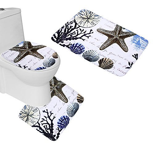 Amagical 3 Picece Colorful Seashell Bathroom Mat Set (Bathroom Carpet + Pedestal Rug + Toilet Seat Cover)