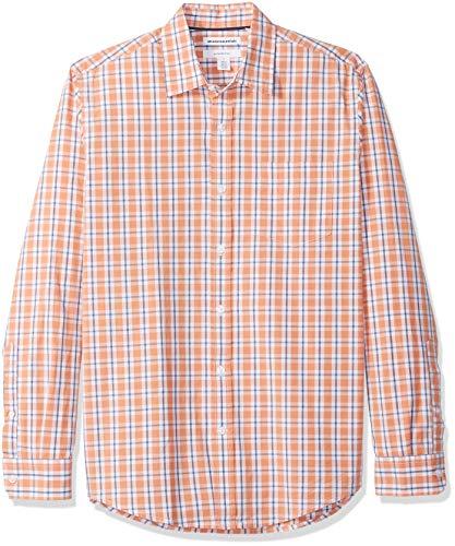 Amazon Essentials Mens Slim-Fit Long-Sleeve Plaid Casual Poplin Shirt