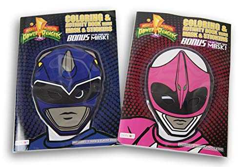 Power Rangers Blue Ranger and Pink Ranger Masks with Coloring Books and Stickers