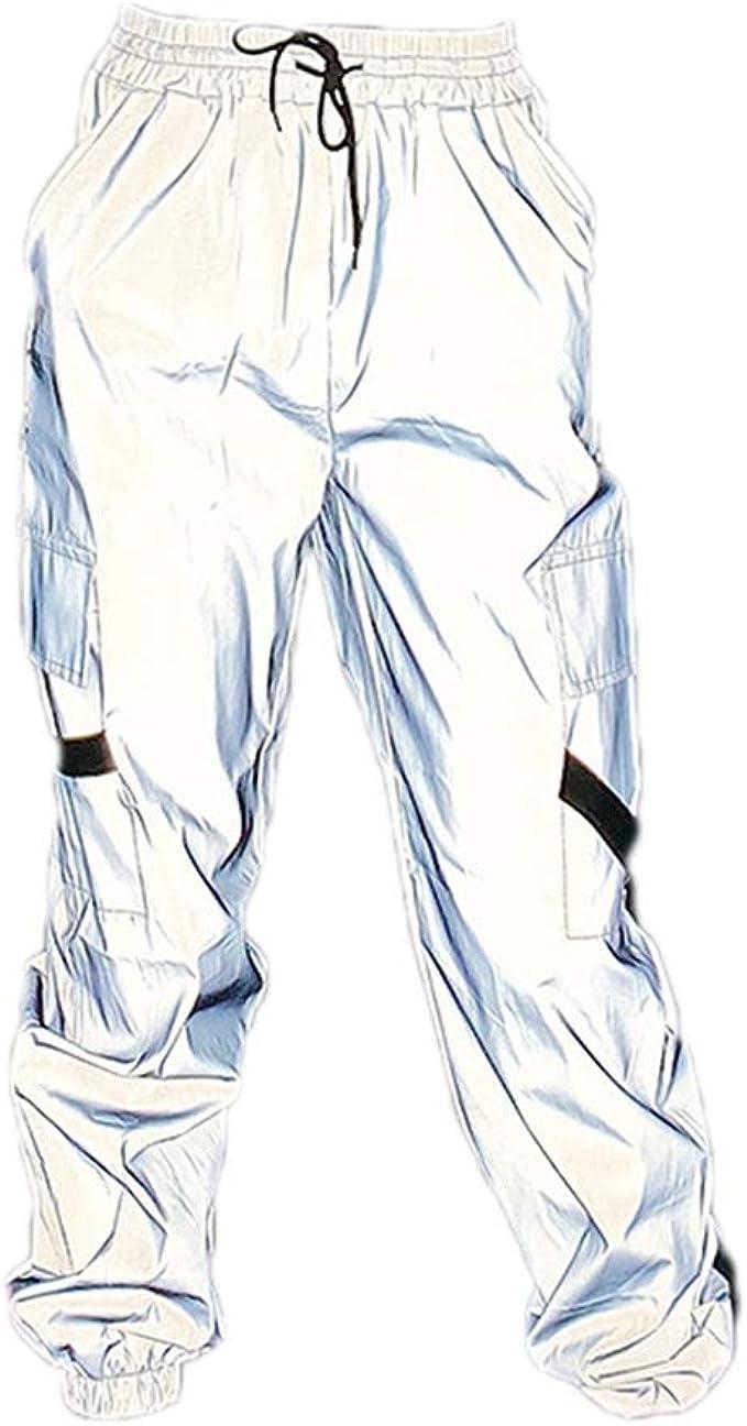 Pantalones de cordón Reflectantes para Mujer Hip Hop Club Outfit ...