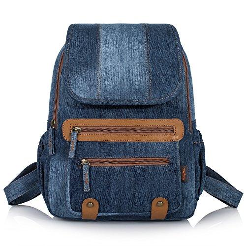 Denim Purse Blue Jean - Leaper Vintage Denim School Backpack Laptop Bag Shoulder Daypack Handbag (Denim-Blue)