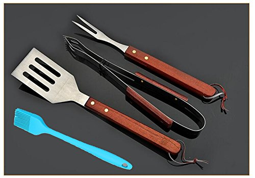 Rosewood Barbecue Tongs (BBQ Grill Tools Set of 4 Piece - Stainless Steel Grilling Tongs, Grill Fork, Grill Spatula and Silicone Brush,Rosewood Non-Slip Handles)