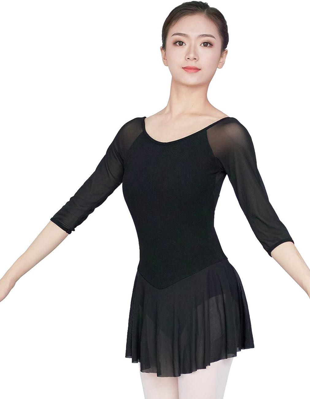 Womens Adult Leotards 3//4 Hollow Sleeve Dance Leotards for Ballet Aerobics