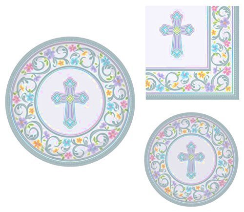 - Inspirational Religious Party Supplies for 18 People: Dinner Plates Dessert Plates and Luncheon Napkins 72 Piece Bundle