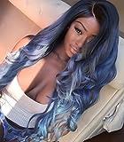 Heat Resistant Fiber Hair mermaid dark root ombre black blue...
