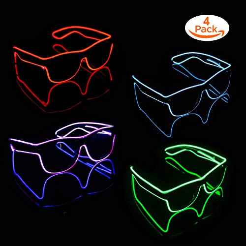 Blazing Fun El Wire Glow Glasses Led DJ Bright Light Safety Light Up Multicolor led Flashing Glasses with 4 Modes for Halloween Christmas Birthday Party (Lemon Green+ Transparent Blue+red+Purple)