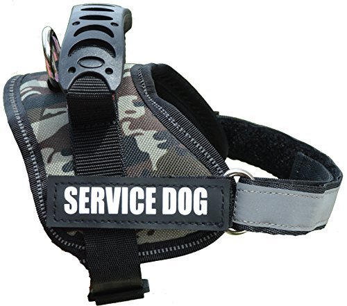 Image of ALBCORP Reflective Camo Service Dog Vest Harness, Woven Nylon, Adjustable Service Animal Jacket, with 2 Hook and Loop Removable Patches, XS, Green Camo