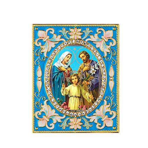 Religious Nativity - Faberge Inspired Framed Desk Icon - Wall Pendant, Christmas Ornament - With Stand and Chain For Hanging 3 Inch tall