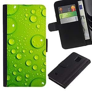 Paccase / Billetera de Cuero Caso del tirón Titular de la tarjeta Carcasa Funda para - Green Water Drop Leaf 3 - Samsung Galaxy Note 4 SM-N910