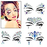 BBTO 4 Styles Face Sticker Tattoo Mermaid Eyes Crystals Rhinestone Tattoo Temporary Jewels Face Gems Stickers Festival Jewels Halloween Jewels for Forehead Decorations