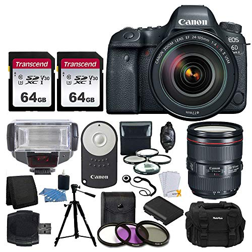 Canon EOS 6D Mark II DSLR Full Frame Camera + EF 24-105mm f/4L is II USM Lens Professional Accessory Deluxe Bundle