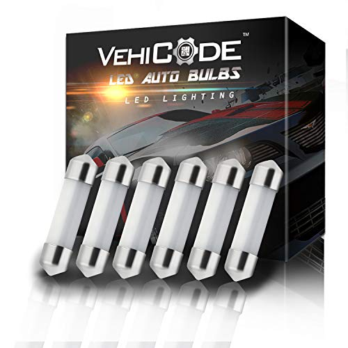 VehiCode Low Voltage 12V 6418 6411 6461 C5W 3710 3423 3425 LED Light Bulb (6000K White) - 36-37mm Festoon 12-SMD 3014 Chipset for Car Interior Map Dome Trunk Courtesy License Plate Light (6 Pack)