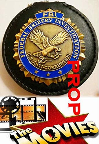 Fleetsharp - Federal Bribery Investigation - Anti-Corruption FBI Movie Prop Badge pin Back with Leather Holder, Belt Clip, Neck Chain, Card (Private Investigation Badge)
