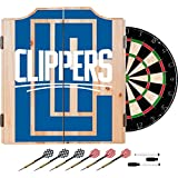 Trademark Gameroom NBA7010-LAC2 NBA Dart Cabinet Set with Darts & Board - Fade - Los Angeles Clippers