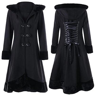 Elogoog Women's Vintage Slim Lace Up Coat Double-Breasted Faux Fur Hoodie Long Woolen Outwear