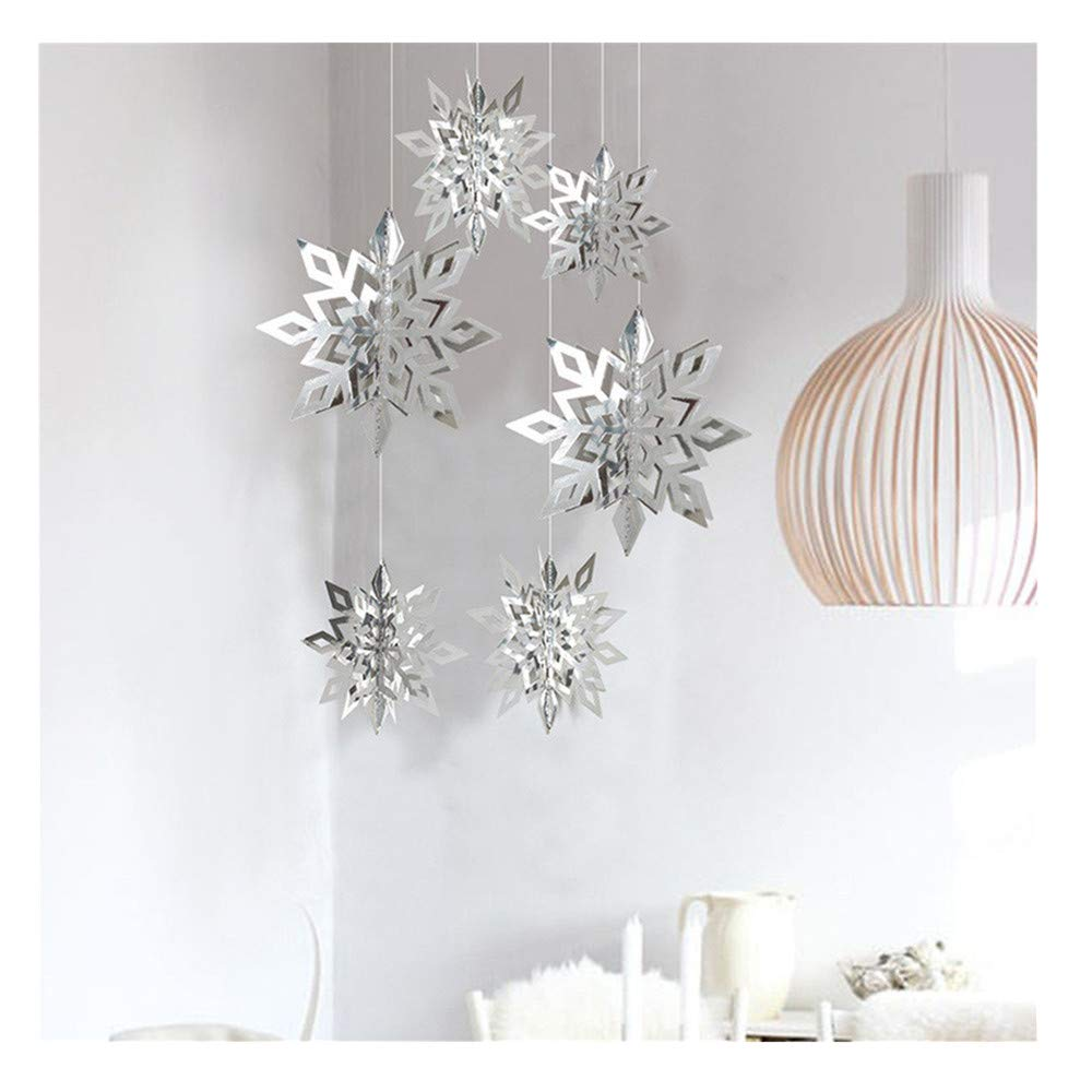 Promisen Christmas Decoration,Cartoon 3D Hollow Out Snowflake Ornaments Pendants Year Christmas Decor,Pack of 6PCS (Silver)