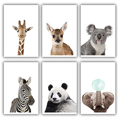OIBTECH Animal Nursery Wall Art Baby Animal Nursery Safari Wall Decor Woodland Nursery Decor Wall Art Decorations 8#039#039x10#039#039 Unframed Art Prints for Home Room Decor6Pcs