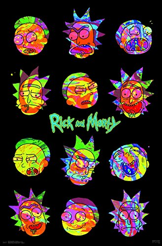 """Trends International Rick and Morty Vaporwave Wall Poster, 22.375"""" x 34"""", Multicolor"""