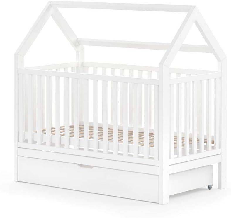 WIKI - Cama infantil (140 x 70 cm, con cajón), color blanco