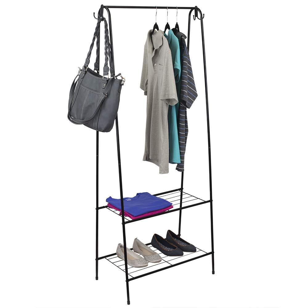 Home Basics 2 Shelf Free-Standing Heavy Duty Garment Rack with Hooks, Black by Home Basics
