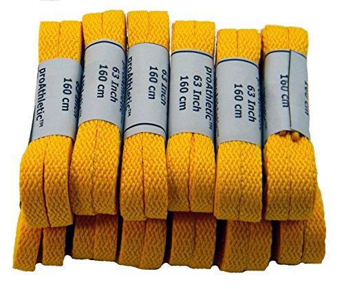 FLAT Sneaker Shoelaces tm 2 pair pack- Neon Yellow ProAthletic