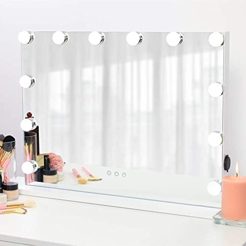 AMST Hollywood Vanity Mirror with Lights, Dimmable 12pcs LED Bulbs with 3 Color Tones, Touchscreen Makeup Mirror with USB Port, Lighted Tabletop Vanity Mirror, White L22.83 X H17.5 Inch