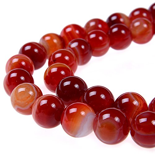 (PLTbeads 6mm Red Carnelian Stripe Agate Smooth Round Shape Natural Gemstone Loose Beads For 1 Strand per Bag Approxi 15.5 inch 64-66pcs Jewelry)