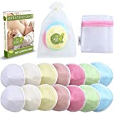M&Y Organic Bamboo Nursing Pads | 14-Pack + 3 Bonuses | Washable, Reusable & Waterproof | Contoured, Large (4.7''), Multi-Color