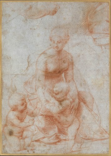 Poster - Madonna and Child with the Infant Saint John the Baptist; upper left Study for the Right Arm of the Infant Saint John; upper right Study for Drapery (recto); Study of a Nude Male Figure (verso) 24x17.5