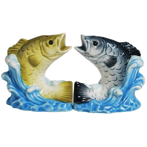 Westland Giftware Magnetic Ceramic Salt and Pepper Shaker Set, 3.5-Inch, Mwah Bass Splash, Set of 2