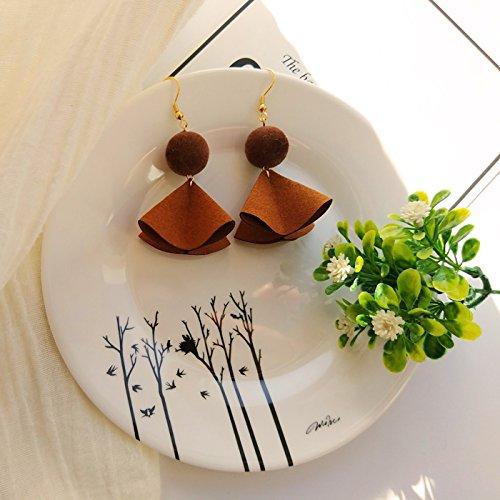 usongs - earrings handmade caramel suede flocking three-dimensional ball earrings earrings