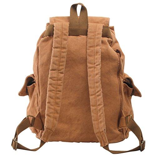 NiSeng Escuela Mochila Hombres Mujeres Vintage Backpack Casual de lona Bolsa Senderismo marrón