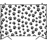 Allenjoy 7x5ft Black Paw Backdrop Pet Dog Cartoon Birthday Party Decorations Boy Baby Shower Background Step and Repeat Cake Table Banner Photo Studio Booth Photography Props