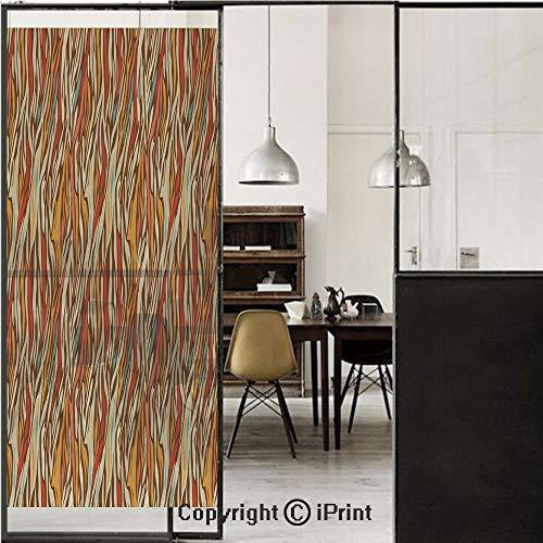 Zebra Print 3D Decorative Film Privacy Window Film No Glue,Frosted Film Decorative,Abstract Geometric Zebra Pattern Strips in Vintage Colors Creative Artwork,for Home&Office,23.6x70.8Inch Mustard - Zebra Geometric